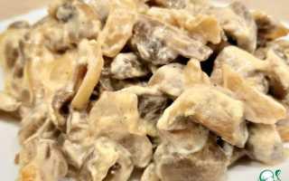 Пожарить грибы шампиньоны со сметаной