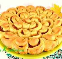 Пирог с капустой хризантема