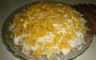 Рецепт салата с крабовыми чипсами