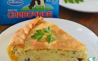 Пирог с картофелем грибами и мясом