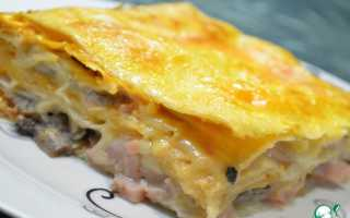 Пирог из лаваша с сыром и ветчиной