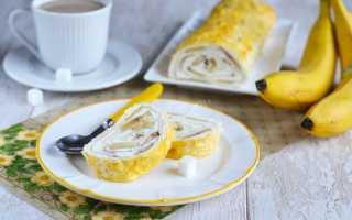 Пирог из лаваша с творогом и бананом