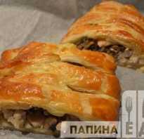 Рецепт слоеного пирога с грибами и курицей