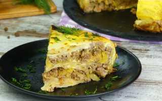 Пирог из капустных листьев с фаршем