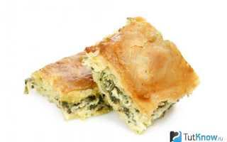Пирог со шпинатом калорийность