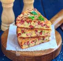 Рецепты пирог с колбасой и сыром