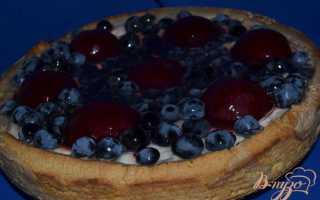 Пирог с творогом и фруктами в желе