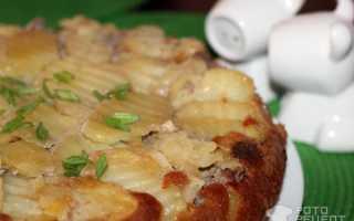 Пирог перевертыш с фаршем и картошкой