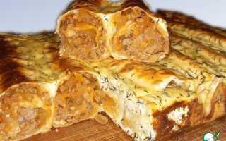 Пирог с фаршем из лаваша в духовке