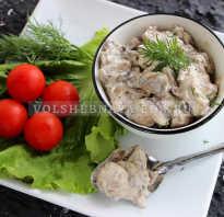 Рецепт приготовления шампиньонов на сковороде со сметаной