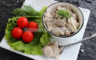 Рецепт грибов шампиньонов в сметане на сковороде