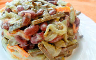 Рецепт салата с куриной печенью и фасолью