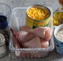 Рис с курицей и кукурузой в духовке