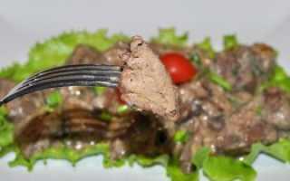 Печень индейки жареная с луком в сметане