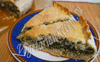 Пирог вегетарианский с сыром