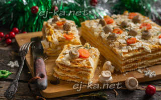 Пирог наполеон с курицей и грибами