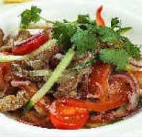 Рецепт салата с маринованной говядиной