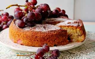 Пирог с виноградом на сметане