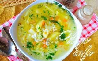 Постный суп с рисом и картошкой
