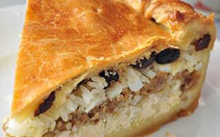 Пирог татарский с мясом и рисом