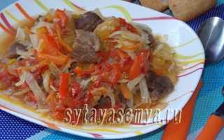 Приготовить овощное рагу с мясом в мультиварке
