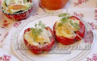 Перец с фаршем и сыром в духовке
