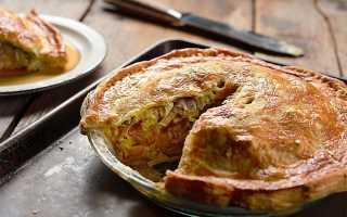 Пирог с квашеной капустой и консервированной рыбой