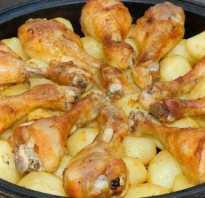 Приготовление куриных ножек в духовке с картошкой