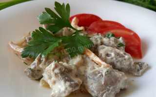 Рецепт куриных желудков со сметаной с фото