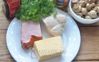 Рецепт салата людмила с ветчиной и грибами